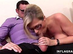 a kinky blonde mature wife seduce a nerd and make him lose his virginity