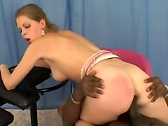 Russian college girl olya interracial action with anal creampie