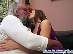 a lucky granpa gets his willy blown and then this kinky babe hops on top of him