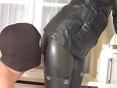 Leather Mistress and Her asslicking slave