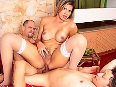 Leticia Yvanovic in Shemale Getting Drilled By 2 Dicks Bareback - DreamTranny