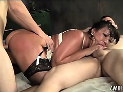ava devine takes on two big cock like a champ