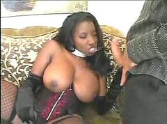 Ebony babe in lingerie catching cock
