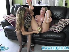 blonde shemale wanks big cock anal toys dildo before cumming on nylon pantyhose ass