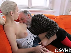 adorable young sweetie enjoys rear fuck with elderly man
