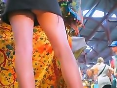 Upskirt hot australian college girl in market