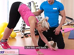 fitness rooms bendy blonde bends over for her trainer
