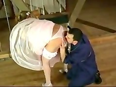 Bride in satin wedding dress cheats before the wedding