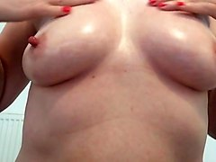 Playing with my tits and nipples want them covered in spunk