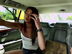 nasty babe kirsten lee fucks in the backseat of the car