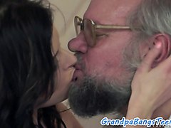 Young beauty gets creampied by grandpa