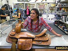 Cute cowgirl anal pounded by pawn keeper