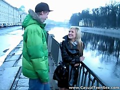 casual teen sex - latex coat is a sign - she wants to fuck hard!