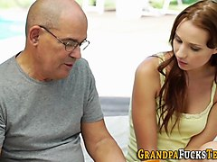 old man with a huge dick fucks a young lady