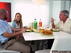 black milf and teen petite blonde babe alyssa gets her way with daddys chum