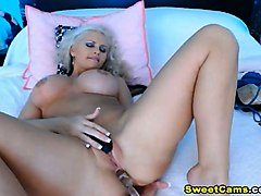 hot blonde babe with big tits toying pussy to orgasm
