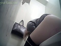 amazing white ass of a sexy young blonde girl in the toilet room