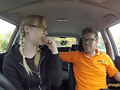 giggly marketing student satin spank banged in the car