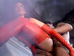 rough passionate sex with restless hot brunette in latex