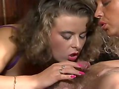 busty blonde milf and her busty brunette friend share one man