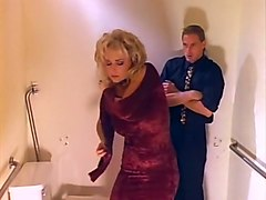 fine and lascivious blonde bimbo fucked on the floor in the toilet room