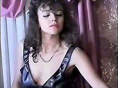 hot brunette white lady in latex outfit playing with her sex slave