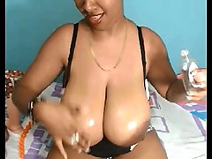 bbw hot ebony chubby girl with dildo on webcam