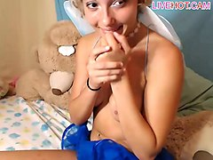 hot camgirl dresses up as a fairy and starts fucking her ass with her sex toy