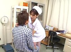 Asian nurse sucking a small dick