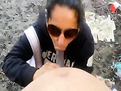 sexy brunette babe fucking pov outdoor