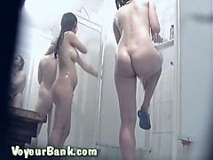 beautiful white college girls in the shower room on hidden cam
