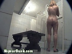 chunky white milf housewife in the public shower room on hidden cam video