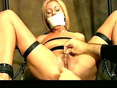 submissive tied up and shut up blonde gets masturbated a bit in hard mode