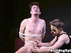 bonded sub cums while tugged by masked dom