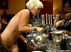 Poor dinner slave is used by all the guests and gets a facial