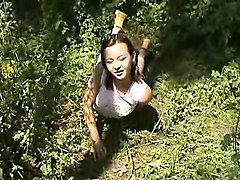 outdoor solo hot scene with teen showing pussy