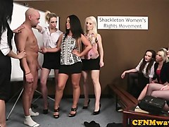 cock wanking cfnm babes humiliate guy