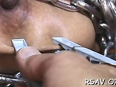 hardcore bdsm action as breasty bitch get bounded tight