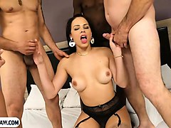 double anal fucked latina tranny in a group gangbang