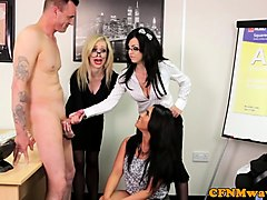cocksucking office babes enjoy cfnm session