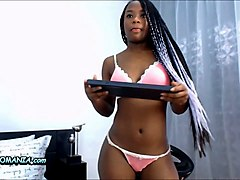black babe with small tits exploring her pussy with big white dildo