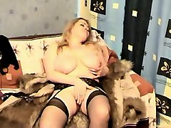 blond haired bbw in black nylon stockings wanna masturbate just a bit