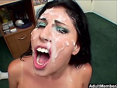 dirty brunette makayla cox gags on four cocks