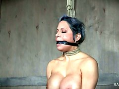 grey haired super bosomy milf gets her big boobies tied up with ropes