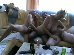 wrinkled flabby bodied blonde housewife sucks two old cocks (fmm)