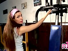 kinky long haired sporty babe and her really arousing workout on cam
