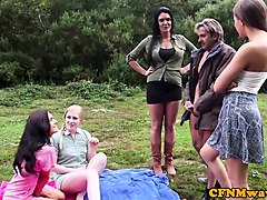 cockhungry cfnm babes give handjob outdoors