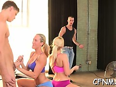 cfnm action with a sweetheart pleasuring dude with toy