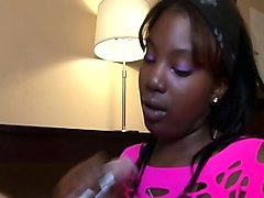 nubian babe gives pov handjob while clothed
