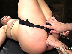 big ass babe in ropes gets anal fucked